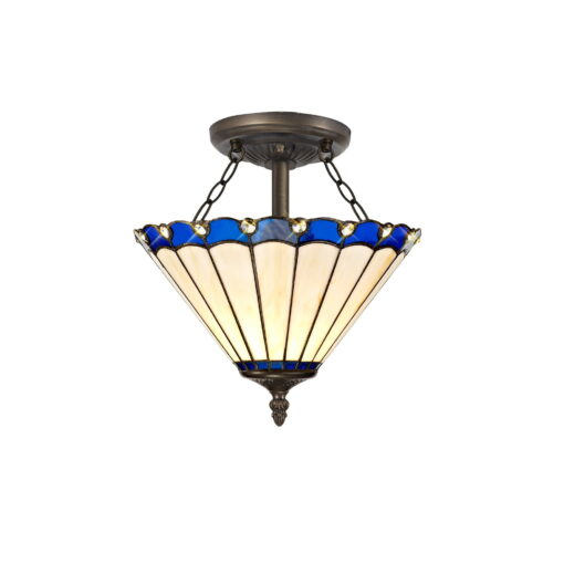 R-1-2241KHS Aubrey- 2 Light 30cm Tiffany Semi Ceiling, Blue, Cream and Aged Antique Brass
