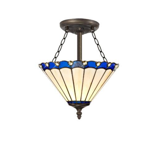 R-1-3241KHS Aubrey- 3 Light 30cm Tiffany Semi Ceiling, Blue, Cream and Aged Antique Brass