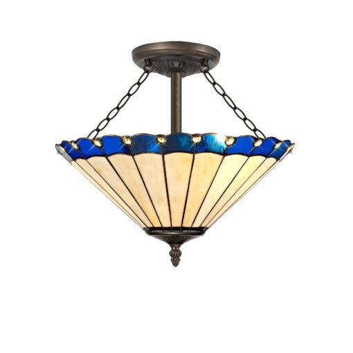 R-1-2341KHS Aubrey- 3 Light 40cm Tiffany Semi Ceiling, Blue, Cream and Aged Antique Brass