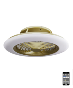 Mantra M6707- Alisio fan, Burnished Gold and White